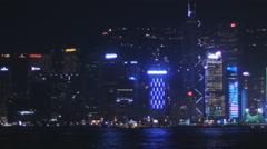 Spectacular light show Hong Kong harbor pan 4K Stock Footage