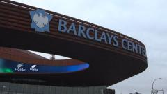 Barclays Center_Low Angle Pan Right Day Time EXT Medium Shot Stock Footage