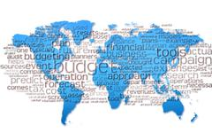 Word Cloud of  budget with world map background - stock illustration