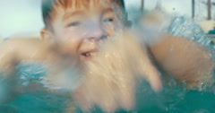 He can play in the pool all day long Stock Footage