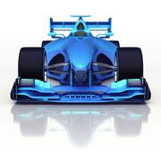 Stock Illustration of blue 3D formula car front view with floor reflection