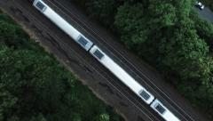 Stock Video Footage of Aerial Over Commuter Train