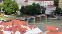 4K time-lapse footage of the Inn Bridge (or Marienbrucke)  in Passau Stock Footage
