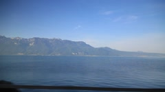 Lac Leman From train window in Switzerland Stock Footage