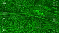 Night vision aerial surveillance drone/UAV flyover of an urban or suburban mall - stock footage