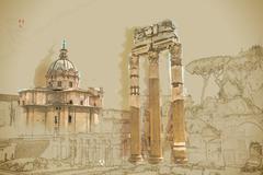 Ruins of the Roman Forum - stock illustration