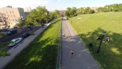 Aerial view of Running Kids at Sunset Park - Brooklyn, New York Stock Footage