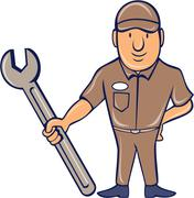 Stock Illustration of Mechanic Standing Attention Spanner Cartoon