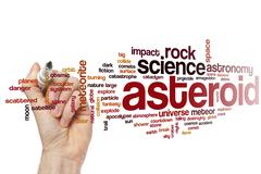 Asteroid word cloud - stock photo