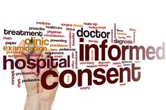 Informed consent word cloud - stock photo