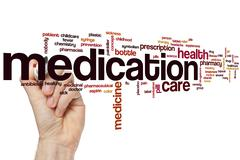 Medication word cloud Stock Photos