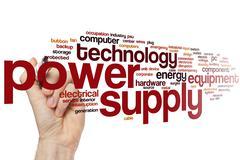 Power supply word cloud - stock photo