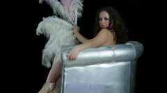 Glamorous Woman Performance Silver Club Chair 84 Stock Footage