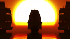 old three ships sunset in sea - stock footage