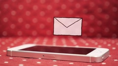 One new Message on Smatr Phone. Animation Unread Message Icon Stock Footage