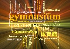 Gymnasium multilanguage wordcloud background concept glowing Stock Illustration