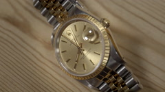 Extreme Close Up of 18ct Gold Rolex Oyster Perpetual Date. 4K UHD. Stock Footage