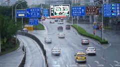 Timelapse:car moving fast on the Shanghai city road.timelap Stock Footage