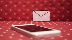 Wite Smart Phone with One new Message. Animation Unread Message Icon - stock footage