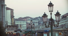 Venice scene with people on the bridge and street lantern Stock Footage