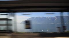 Lac Leman From train window in Switzerland Stock Footage