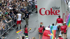 Gay pride march with rainbow flags and LBGT celebration in 4K, NYC Stock Footage