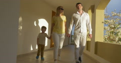 Young Family Walking over the Passage Stock Footage