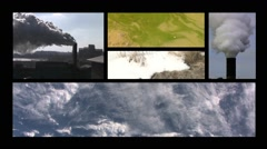 Environment collage with pollution Stock Footage