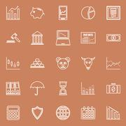 Stock Illustration of Stock market line icons on brown background