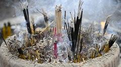 Incense Stick Burning In Old Censer Stock Footage