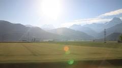 Moving train of Switzerland railway Stock Footage
