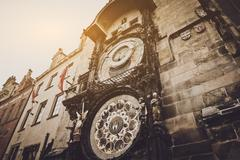 View of the astronomical clock tower in Prague, Czech Republic Stock Photos
