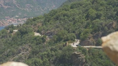 Bikers on Corsica, D81 Road to Porto Stock Footage