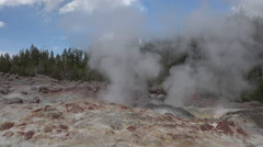 Norris Geyser Basin Steamboat small eruption Yellowstone 4K Stock Footage