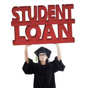 Graduate student with student loan text - stock photo