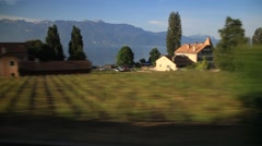 Summer Farm view from Moving train Stock Footage