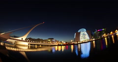 Dublin Night Timelapse Bridge Beckett - stock footage