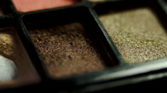 Detail Of Brush On Eye Shadow Kit, Cosmetics, Make Up, Macro Shot - stock footage