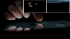 Hands Using Tablet Computer Or Smartphone Late In Night Montage, Technology Stock Footage