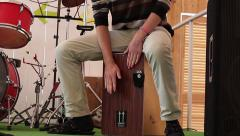 Man beats the rhythm of a percussion instrument on stage drums Stock Footage
