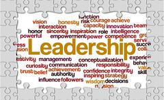 Jigsaw puzzle reveal wordcloud of Leadership and its related words - stock illustration