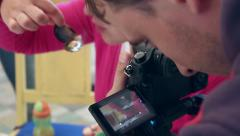 The process of shooting 4K video at a restaurant on mirrorless camera Stock Footage
