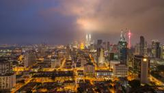 Kuala Lumpur Malaysia Cityscape With Stormy Clouds Zoom Effect 4K Timelapse Stock Footage