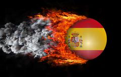 Stock Illustration of Flag with a trail of fire and smoke - Spain