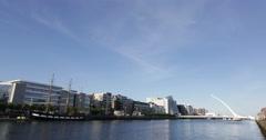 Dublin River Liffey Beckett Brigde Day Timelapse - stock footage