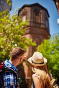 Tourists in foreign city Stock Photos