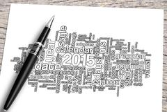 Close Up Pen And Budget Word Cloud. Piirros