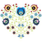 Polish folk floral pattern in heart shape - stock illustration