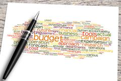 Close Up Pen And Budget Word Cloud Piirros