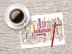 Coffee, Pencil And A Note Contain Word Clouds Of Solution And Its Related Wor Stock Illustration